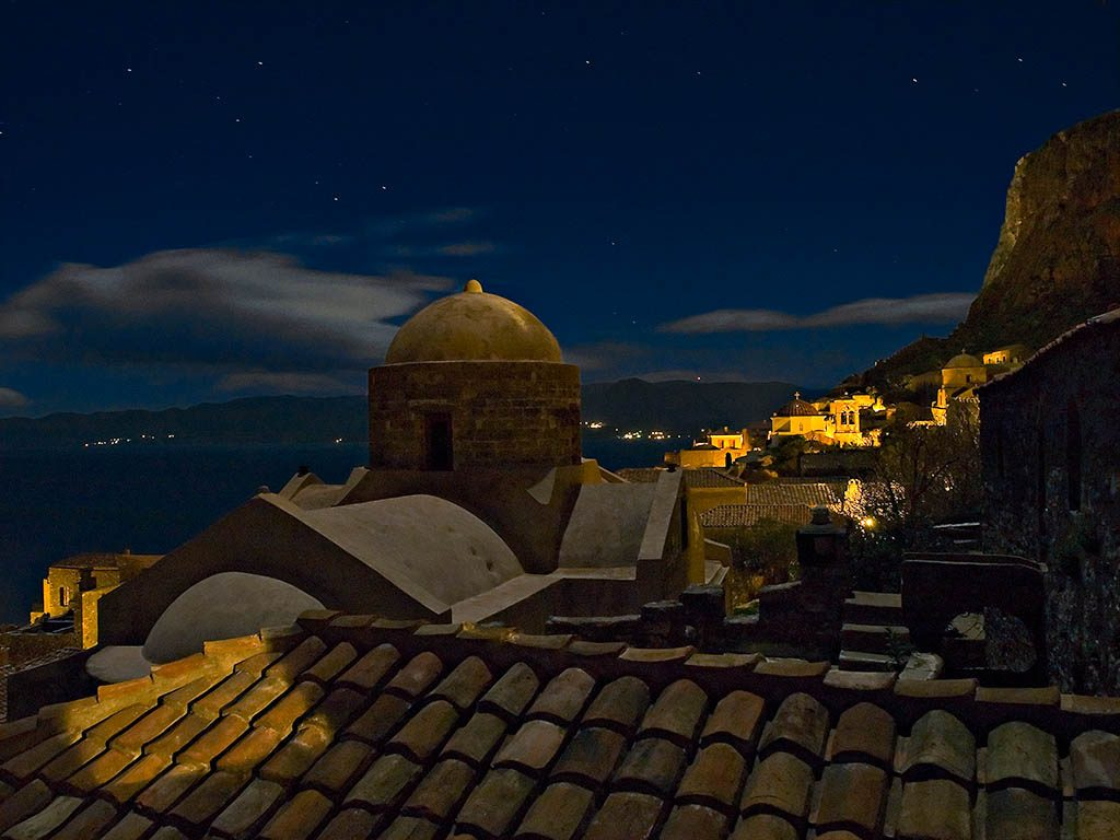 Monemvasia at night