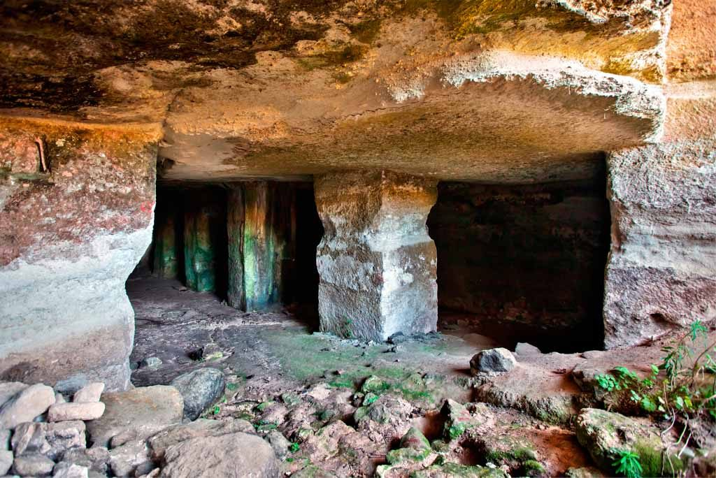 """CRETE, GREECE - March 19, 2019. Ancient cisterns in the archaeological site of Eleftherna (""""Eleutherna""""), Rethymno prefecture."""