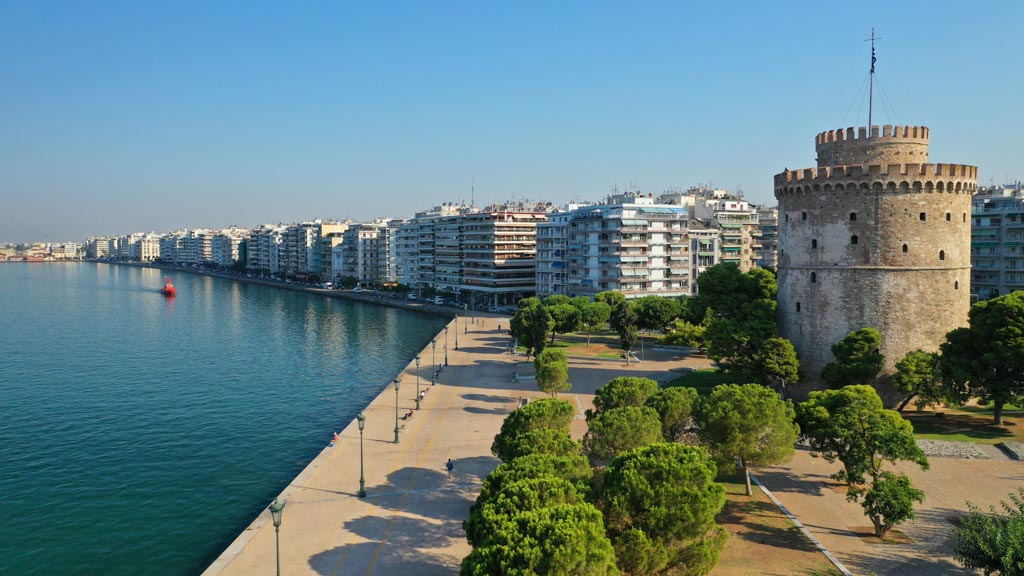Aerial photo of iconic byzantine White Tower in the centre of Thessaloniki or Salonika, North Greece
