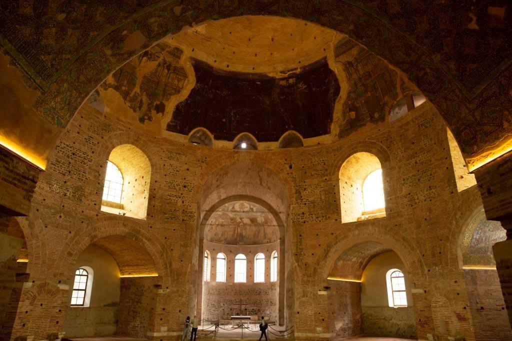 Thessaloniki Greece, May 09 2019: The interior of the Greek Orthodox Church of Agios Georgios aka Rotunda of Galerius
