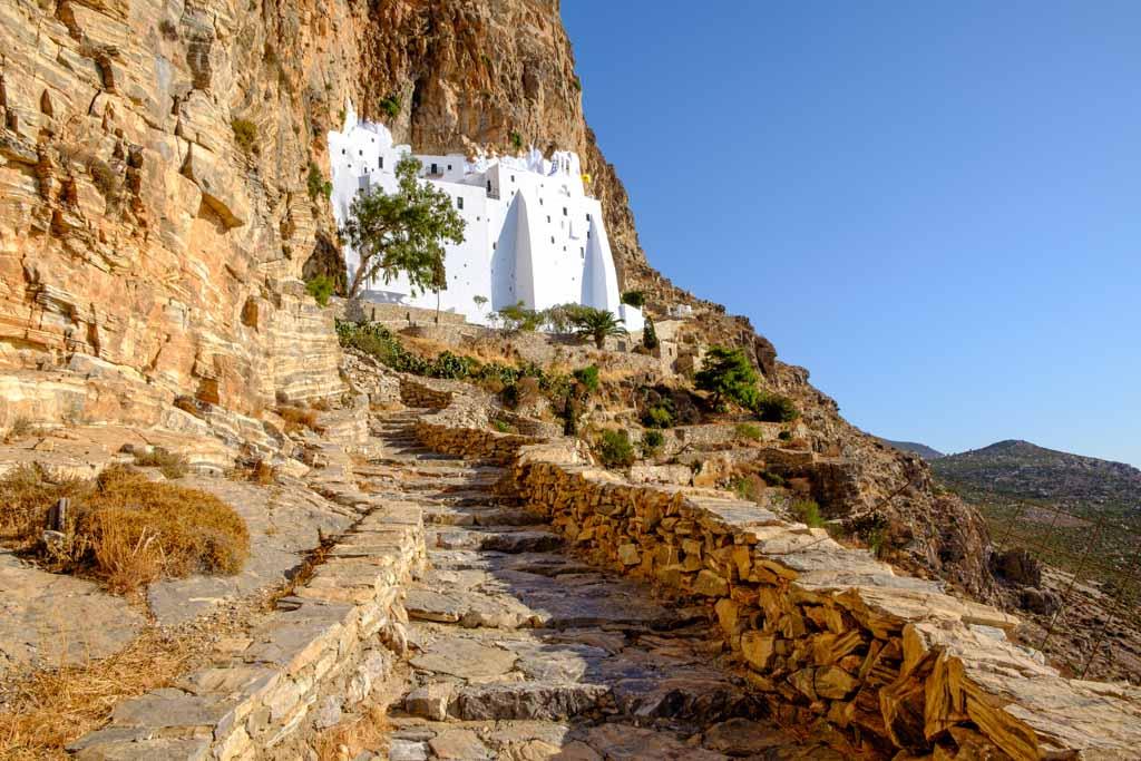 Scenic view of Panagia Hozovitissa monastery on Amorgos island, Greece