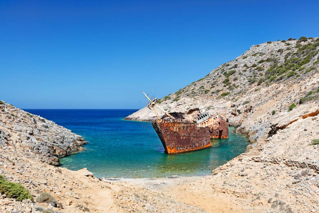 Olympia shipwreck of Amorgos island in Cyclades, Greece