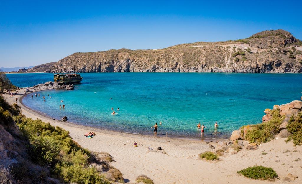 GYALI, GREECE - 13 SEPTEMBER 2018: Beautiful beach of Gyali. Volcanic Greek island in the Dodecanese, between Kos and Nisyros